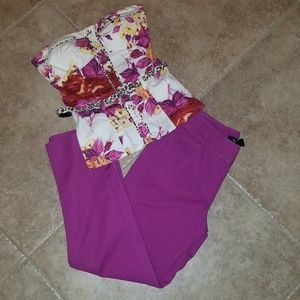 WHBM pants & Sele bustier tube top